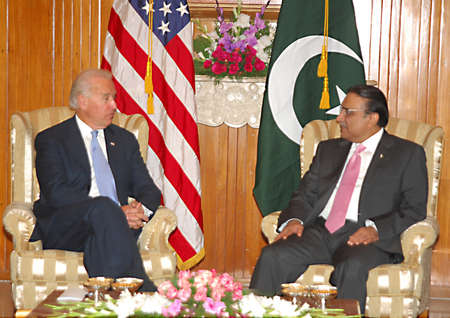 ISLAMABAD PAKISTAN.   President Asif Ali Zardari during meeting with Mr. Joseph R. Biden, US Vice President, who called on him at the Presidency on 12 January 2011