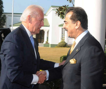 pms: ISLAMABAD PAKISTAN.  Prime Minister Syed Yusuf Raza Gilani shaking hand with Vice President USA, Mr. Joseph R. Biden at PMs House on January 12, 2011     Editorial