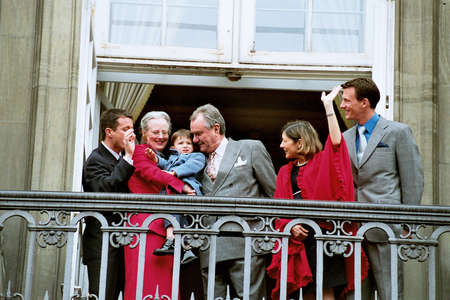 prince of denmark: DENMARK  COPENHAGEN .(file historic images ) Queen Margrethe with family member celebrates her 62 years birthday with family member  crown prince frederik,prince jochim an, prince henrik(henri)and princess Alexandra(now divorced from joachim)and prince n