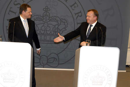 DENMARK  COPENHAGEN .Danish prime minister Lars Lokke Rasmussen (R)in picture and New Vicve prime minister and minister for justice Lars Barfoed holds joint press conference after meeting at prime minister meeting  at pm office, Lars Barfoed(VPM) and Lar