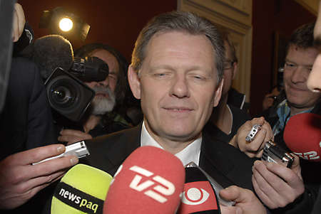DENMARK  COPENHAGEN .Lars Barfoed, New leader of Conservative party ,and danish minister for law and order Justice and new vice prime minister talking to press media at chruistiansborg 14 Jan. 2011