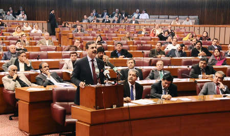 ISLAMABAD PAKISTAN.   Prime Minister Syed Yusuf Raza Gilani addressing at the Assembly session at Parliament House, Islamabad on January 24, 2011