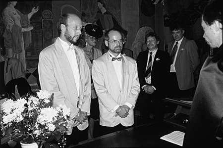 DENMARK  COPENHAGEN_ (HISTORIC GAY SAME SEX MARRIAGE CEREMONY IN COPENHAGEN 1.OCT.1989) World second gay couple same sex civil mariage of parternership ,Inav Larsen right in pictures is Pastor in danish state church  and his partner Ove Carlsen psycholog Editorial
