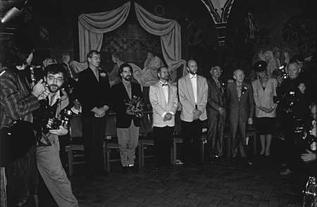 DENMARK  COPENHAGEN_ (historic images of gay marriage 1-10-1998) Unknown gay couple same sex or gay civil marriage partnership ceremony at Copenhagen Townhall (cityhall)on 1 Oct. 1989