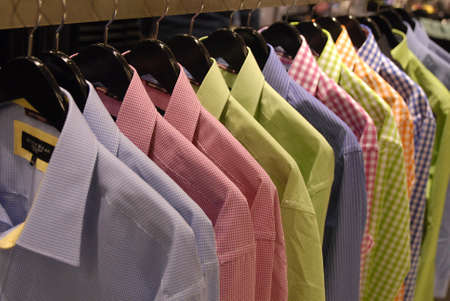 DENMARK  COPENHAGEN .Various  colour  shirts on sale in Illum department store 17 Feb. 2011