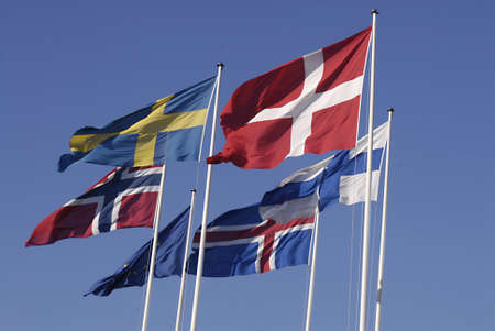 DENMARK  COPENHAGEN . Eureopean union and nordic countries flags,Denmark,sweden,finland,faroe islands,norway ,iceland flags 19 Feb. 2011     Editorial