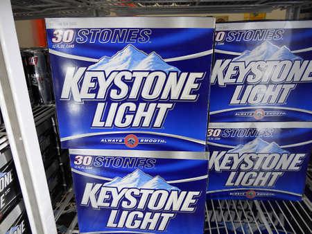 keystone light: CLARKSTONWASHINGTON STATE USA _shoppers walmart and st.patrick t.shirt and fruit items 22 Feb.2011     Editorial