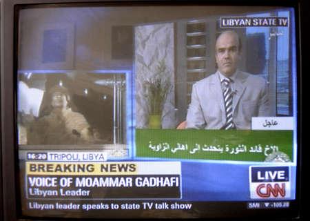 libysch: 24 feb. 2011 Libyschen F�hrer Moammar Nepotismus libyschen Televsion via Telefon Reocrding Televsion Berichten.      Editorial