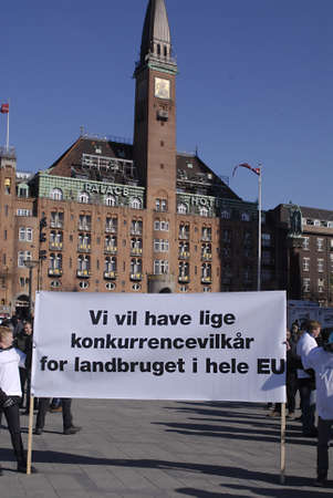 formers: DENMARK  COPENHAGEN _ Danish Formers staged country wide tractor protest against danish state and european union srange policies toward formers and agriculture ,drove tractor from various part of country at Copenhagen Townhall Sq. and offered danish fast Editorial