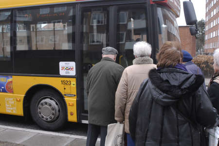 DENMARK  COPENHAGEN _ Danish senior citizens waiting for bus transport, danish seniors are not allow to travel by bus,metro or train before 9.00 am and not allow traveled on train between 3 pm untill 5 pm but bus transport are allow for seniors, due to s