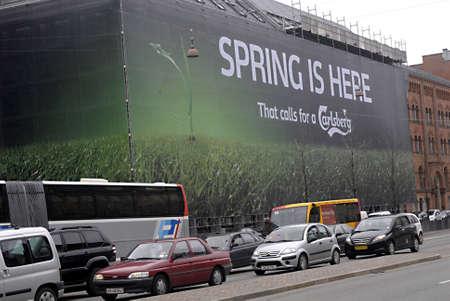 DENMARK  COPENHAGEN . Carlsberg beer huge billboard  6 April 2011      Editorial