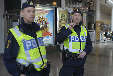 SWEDEN  HELSINGBORG .Swedish police keep law and order in city,beacuse today tow football clubs playing match in city Helsingbor and police keepeye on footballs actvies in Helsingborg Sweden 10 April 2011        Editorial