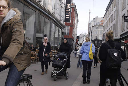 immigrants: DENMARK  COPENHAGEN _  Muslin immigrants females with headscraf 11 April 2011