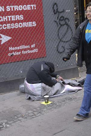 polictis: DENMARK  COPENHAGEN _   Male homeless on stroeget 11 April 2011     Editorial