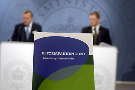 DENMARK  COPENHAGEN _ Danish colation government Prime minister Lars Loekke Rasmussen from Liberal and vice prime minister and minister for Justic Lars Barfoed(L)in pictures present danish Government reformpakken 2020 state economic polices  rest will al