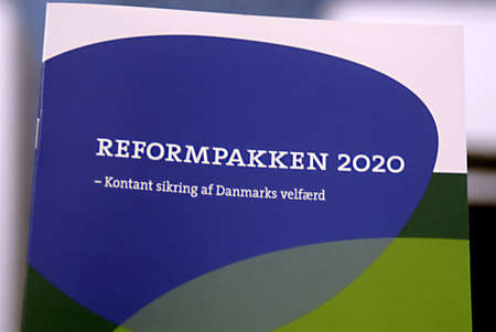 danish prime minister: DENMARK  COPENHAGEN _ Danish colation government Prime minister Lars Loekke Rasmussen from Liberal and vice prime minister and minister for Justic Lars Barfoed(L)in pictures present danish Government reformpakken 2020 state economic polices  rest will al
