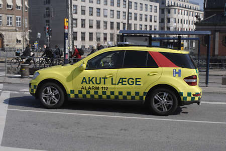 apri: DENMARK  COPENHAGEN _  Emergency medicare doctor ambulance aiwht alarm 112 sign  medicare ambulance and hospital are under resgion government 15 Apri, 2011     Editorial