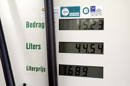 NETHEERLANDS    /COUTRY SIDE /Comsuner pumping fuel or gasoline at BP british oil cmpnay gas station in Holland /Netherlands little higher then Germany 23 Aoril 2011 Stock Photo - 9386902