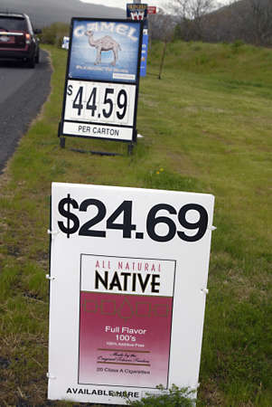 natureal: NEZ PERCE  AMERICAN NATIVE IDAHO STATE USA _  All natureal native  and carmel cigrette billboard on Nez  Perce native american territory in Idaho State 7 May 2011