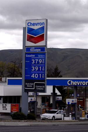 unleaded: LEWISTONIDAHO STATE USA _  Gas price billboard regular 3.79 and d plus 3.91 and unleaded premium 401 9 May 2011