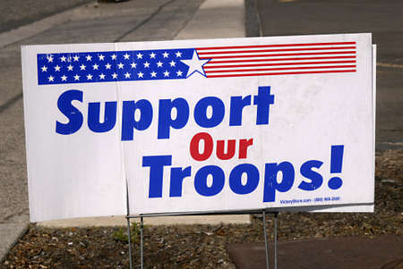 god bless: LEWISTONIDAHO STATE USA _ Small billboard God bless our troops and support our troops 10 May 2011