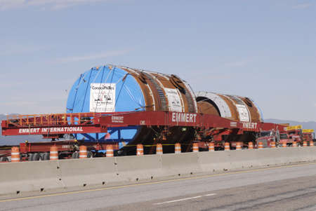 MISSOULA  _ MONTANA STATE _Tow  Mega loads (oversize load ) parked interstate state 90 ,Montana citizen want to ban mego load from highway in future might be comming up by voting to ban Mega load on highways 18 ay 2011        Stock Photo - 9556335