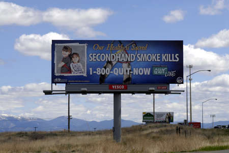 travler: MISSOULA  _ MONTANA STATE _ Billboard with  Our healths sacred secondhand smoke kills 17 May 2011