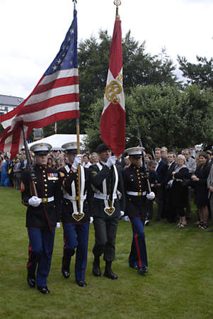 chris: DENMARK  COPENHAGEN _  Louri S. Fulton american ambassador to Denmark invited about 1.500 danes  and other guest to celebarte 4th of july at her residence in Copenhagen,with USa Amry attachie Chris Macdonald  in trops dress welcome guest and read USA pre