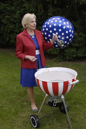 DENMARK  COPENHAGEN _  Louri S. Fulton american ambassador to Denmark invited about 1.500 danes  and other guest to celebarte 4th of july at her residence in Copenhagen,with USa Amry attachie Chris Macdonald  in trops dress welcome guest and read USA pre