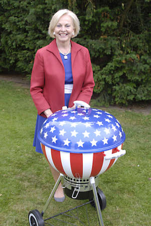 DENMARK / COPENHAGEN _  Louri S. Fulton american ambassador to Denmark invited about 1.500 danes  and other guest to celebarte 4th of july at her residence in Copenhagen,with USa Amry attachie Chris Macdonald  in trops dress welcome guest and read USA pre