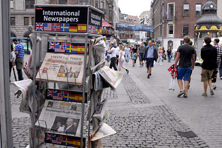 DENMARK  COPENHAGEN _  International newspapers of foreign dailies news stand 4 July 2011        Stock Photo