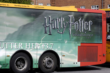 harry: DENMARK  COPENHAGEN _  Billboard of last film of Harry Potter on danish publi bus service 18 July 2011