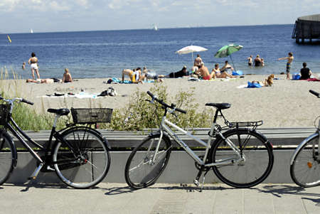 the bather: KASTRUPCOPENHAGENDENMARK _ Bikes jogging,runner and sun bather  life at Amager Beach 19 July 2011           Editorial