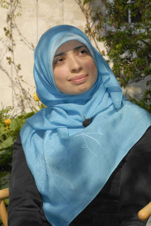 Muslim and arab decent Asmaa Abdol Hamidis first msulim woman with headscarf or hijab candidate for danish parliament (Folketinegt) for left wing party Enhedslisten,accord to other liberla danish and muslim women she Asmaa is has extrim Muslim with muslim Stock Photo - 10005699