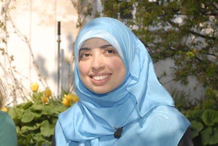Muslim and arab decent Asmaa Abdol Hamidis first msulim woman with headscarf or hijab candidate for danish parliament (Folketinegt) for left wing party Enhedslisten,accord to other liberla danish and muslim women she Asmaa is has extrim Muslim with muslim Stock Photo - 10005696