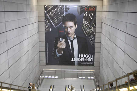 DENMARK  COPENHAGEN _  Jared leto on billboard HUGO different the new fraghance for men in magasin du nord on street corners 15 August 2011       Editorial