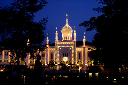 COPENHAGEN _DENMARK. Nimb resturant and hotel at night in Tivoli Garden 18 August 2011