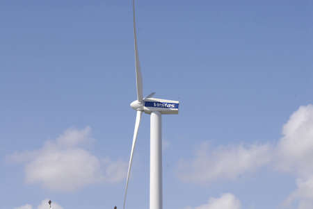vestas: DENMARK  COPENHAGEN _  Vestas turbine green engery this one turbine supply engery to Bella Center 28 August 2011