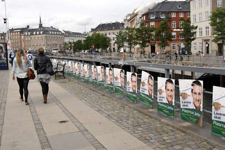 polictis: DENMARK  COPENHAGEN _Elections poster fo danish parliament candiate from various parties 29 August 2011