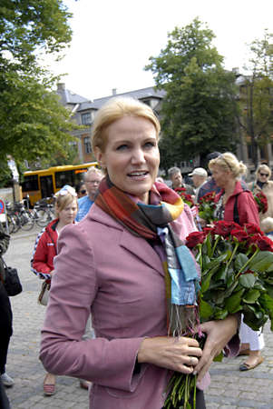 helle thorning schmidt: COPENHAGEN _DENMARK. Helle Thorning -Schmidt,oppostion social democrat leader and candiate for prime minister post for social democrat party on her elections compaign,meet her voters and some are really angry social democrat ,Helle met her party soldiers