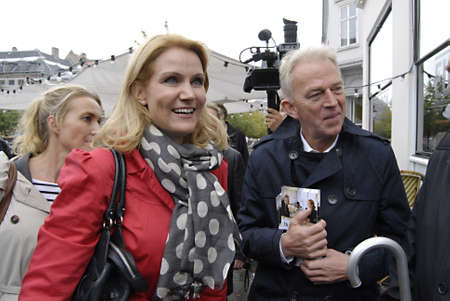 democrat party: DENMARK  COPENHAGEN _Helle Thoring -Schmidt leader of danish social democrat party and prime minister post candidate and Villy Soevndal leader o danish socialists peoples party join general elections compagin on stroeget amagertorv, their last day compag Editorial