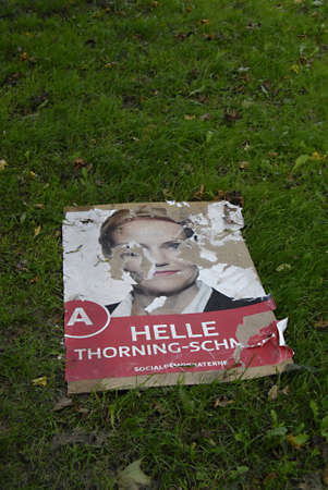 helle thorning schmidt: DENMARK  COPENHAGEN _   pOLITICAL ELECTIONS POSTER OF SOCIAL DEMOCRAT POLITICAL PARTY HELLE THORNING SCMIDT, HELLE THORNING SCHMIDT IS CANDIDATE FOR PRIME MINISTER POST ,POSTER BEEN VANDALZIED 13 SEPT.2011