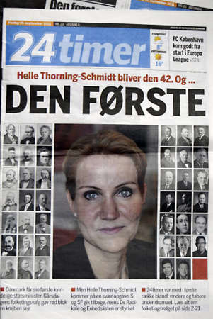 DENMARK  COPENHAGEN _ though new comming prime  minister Helle Thorning Scmidt, has very bad elections reult in 100 years of social democrats party history,She will be first woman prime minister on Danish History,24 timer newspaper has published all prim