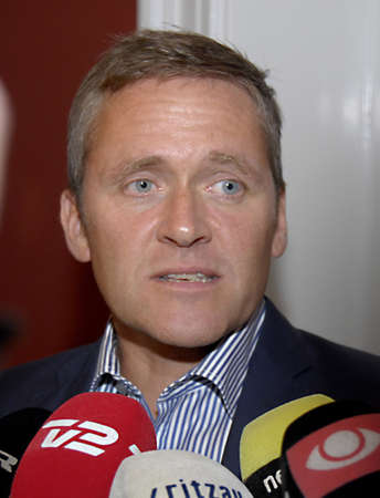 liberal: DENMARK  COPENHAGEN _  Andsers Samuelsen leader of liberal alliance party talking to press media after visting incomming prime minister MS:Helle Thorning-Schmidt social democrat he high lighs his party polices and demond for new comming prime minister ,t