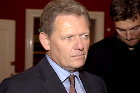 DENMARK  COPENHAGEN _ Lars Barfoed leader of consevative leader talking to media about his policies before going in meeting with incomming prime mminister social government leader MS .Helle Thorning Scmidt at christiansborg, she is talking to all danish