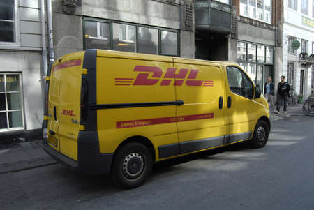 DENMARK  COPENHAGEN _ DHL express and logistic delivery wagon 28 Sept. 2011