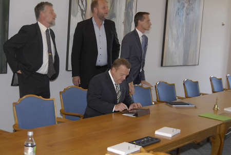 DENMARK  COPENHAGEN _  Lars Lokke Rasmussen (Lars Løkke Rasmussen) Acting prime minister and leader of liberal political party and opposition leader to new comming government  way to parliament at Christiansborg 29 Set. 2011       Editorial