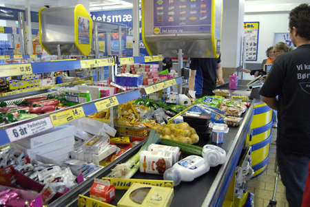 DENMARK / COPENHAGEN _ Exstra state tax on unhealth food goods and tobacco,fat,butter and sugar and other all unhealthy food item high food prices or exstra state tax is from 1 October 2011, Lidl german food chain in Kastrup 2 Oct. 2011      Stock Photo - 10738827
