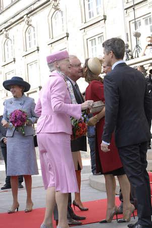 welcom: DENMARK  COPENHAGEN _Danish parliament (Folketinget) opening ceremony Board of parliametn chairman  Mogens Lykketoft and board member welcom royal family of Denmark at Paarliment opening ceremony  Danish royal family H.M.the queen Margrethe II,prince hen