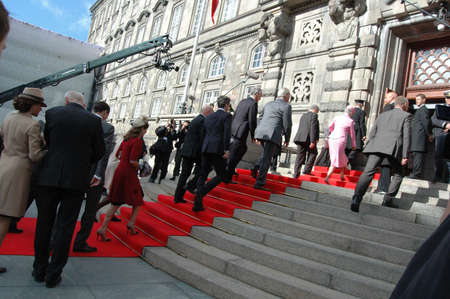 welcom: DENMARK  COPENHAGEN _Danish parliament (Folketinget) opening ceremony Board of parliametn chairman  Mogens Lykketoft and board member welcom royal family of Denmark at Paarliment opening ceremony  Danish royal family H.M.the queen Margrethe II,prince hen